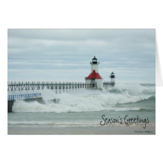 Superstorm Sandy Lake Michigan Lighthouse Card