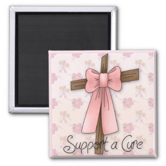 Support a Cure - Breast Cancer Awareness Cross Square Magnet