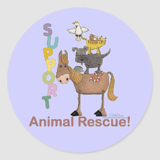 Support Animal Rescue Classic Round Sticker