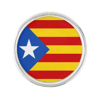 Support Catalonia Lapel Pin, Silver Plated Lapel Pin