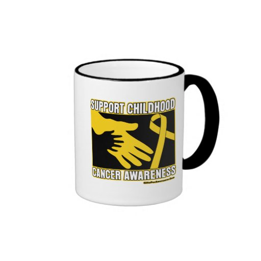 Support Childhood Cancer Awareness Abstract Hands Coffee Mugs
