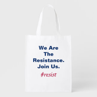 Support Democracy We Are the Resistance Join Us Reusable Grocery Bag