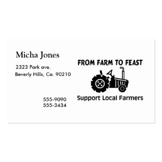Support Farmers From Farm To Feast Business Cards
