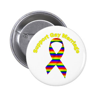 Support Gay Marriage Rainbow Awareness Ribbon Pinback Buttons