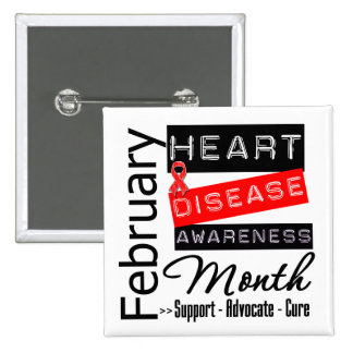 Support Heart Disease Awareness Month 15 Cm Square Badge