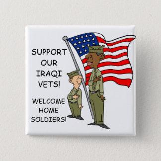 SUPPORT IRAQI VERTERANS 15 CM SQUARE BADGE