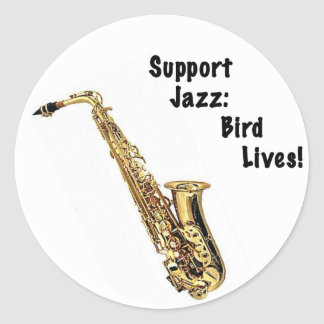 Support jazz: Bird lives Classic Round Sticker