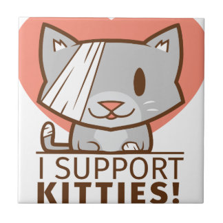 Support Kitty Small Square Tile