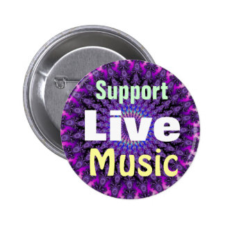 Support Live Music on Purple Tie-Dye Fractal Buttons
