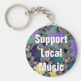 Support Local Music Keychain on Fractal Background