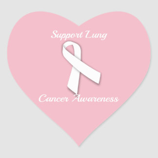 Support Lung Cancer Awareness - Heart Stickers