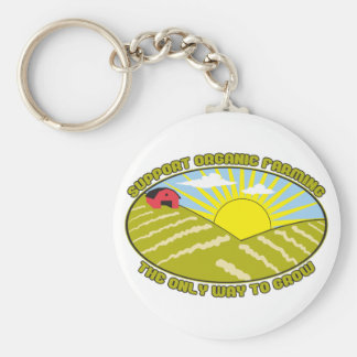 Support Organic Farming Basic Round Button Key Ring