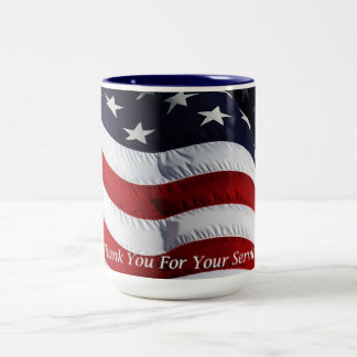 Support Our Troops American Flag Customizable Two-Tone Coffee Mug