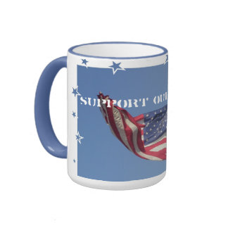 Support our Troops/American Flag Ringer Mug