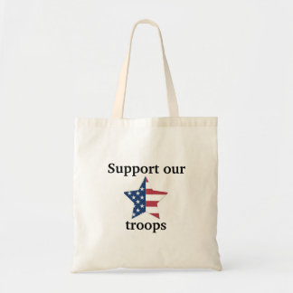 """Support our troops"" American Flag Tote Bag"