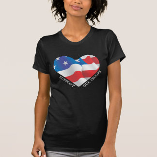 Support Our Troops American Heart Flag Tshirt