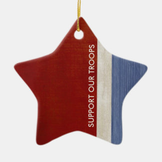 Support Our Troops and Veterans Military Patriotic Ceramic Ornament