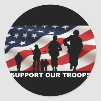 Support our troops army armed forces usa round sticker