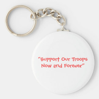 """Support Our Troops Basic Round Button Key Ring"