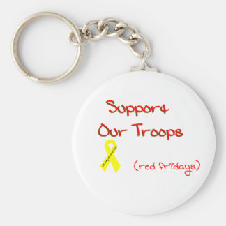 Support Our Troops Basic Round Button Key Ring
