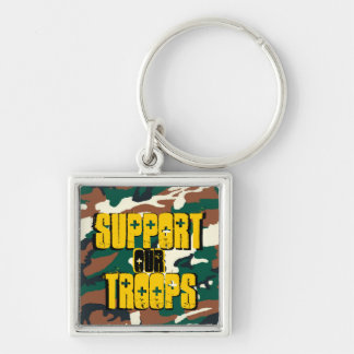 Support our Troops Camo Military by SKO Silver-Colored Square Key Ring