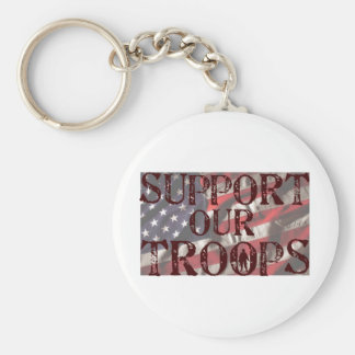 support our troops copy basic round button key ring