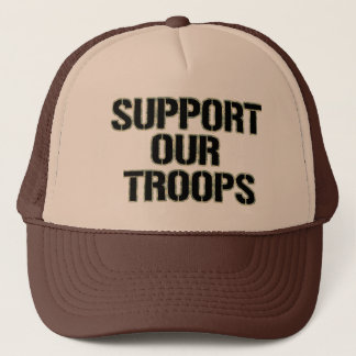 Support Our Troops Hat- Camoflauge Print Trucker Hat