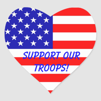 Support Our Troops Heart Stickers