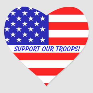 Support Our Troops! Heart Stickers