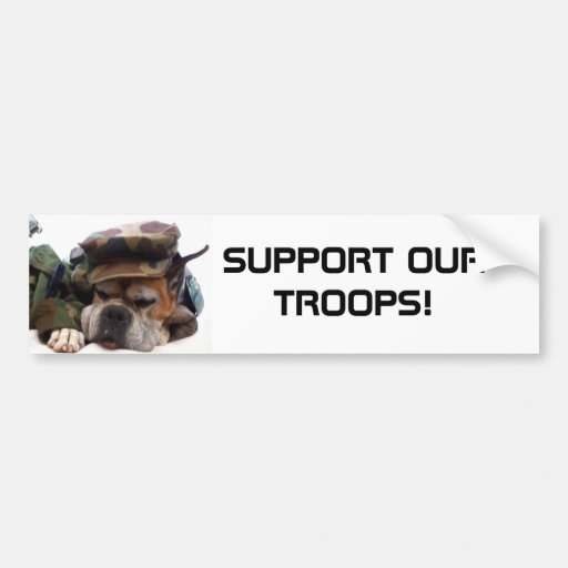 Support our troops Military boxer bumper sticker