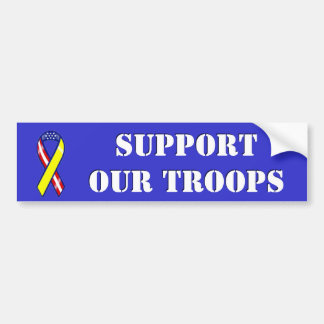 Support Our Troops Patriotic Ribbon Bumper Sticker