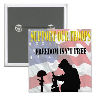 Support Our Troops Pinback 15 Cm Square Badge