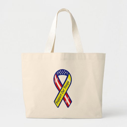 Support Our Troops Ribbon Canvas Bag