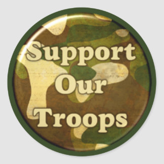 Support our troops round sticker