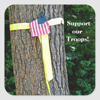Support Our Troops Square  Yellow Ribbon and Tree Square Sticker