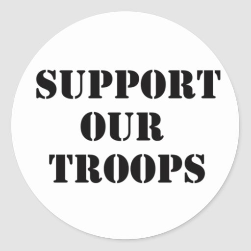 support our troops round stickers