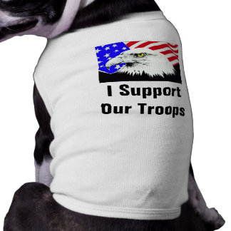 Support Our Troops US Flag Eagle Doggie T-shirt