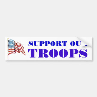Support Our Troops Wording and USA American Flag Bumper Sticker