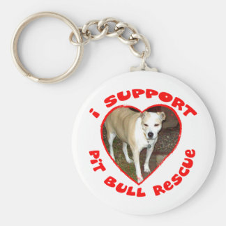Support Pit Bull Rescue Basic Round Button Key Ring