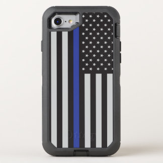 Support the Police Thin Blue Line American Flag OtterBox Defender iPhone 8/7 Case