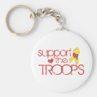 Support the Troops Basic Round Button Key Ring