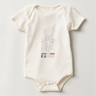 Support The Troops - USA American Pride Baby Bodysuit