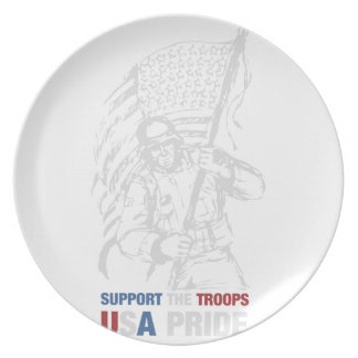 Support The Troops - USA American Pride Party Plate