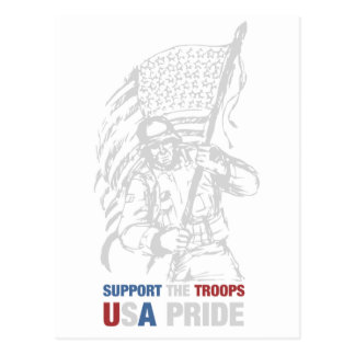 Support The Troops - USA American Pride Postcard