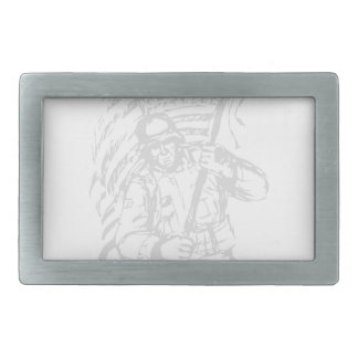 Support The Troops - USA American Pride Rectangular Belt Buckle