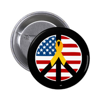 Support the Troops - Yellow Ribbon 6 Cm Round Badge