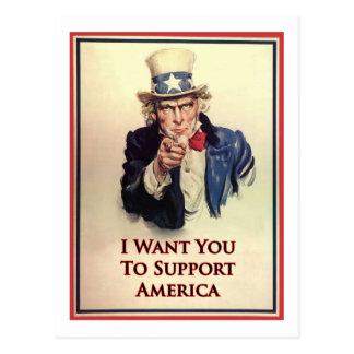 Support Uncle Sam Poster Postcard