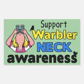 Support Warbler Neck Awareness Rectangular Sticker