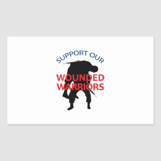 SUPPORT WOUNDED SOLDIERS RECTANGULAR STICKER