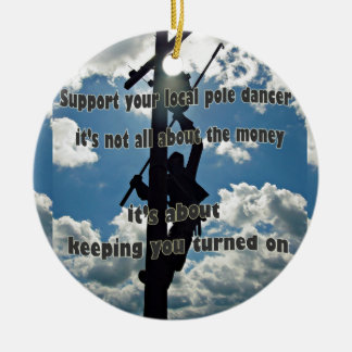 Support your Lineman Round Ceramic Decoration